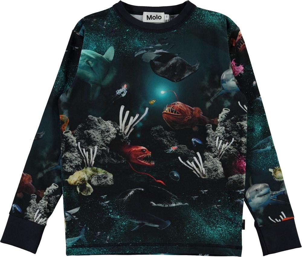 Rill - Deep Sea - Long sleeve organic t-shirt with ocean print
