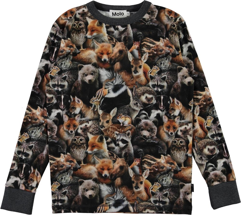Rill - Forest Animals - Long sleeve organic t-shirt with animal print
