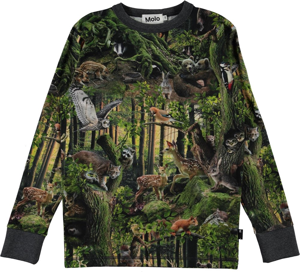 Rill - Forest Life - Long sleeve organic t-shirt with forest print
