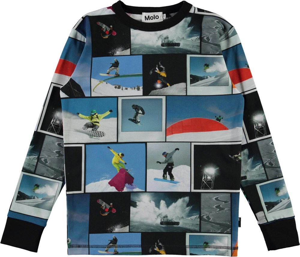 Rill - Snowboarders - Long sleeve organic t-shirt with snowboarder