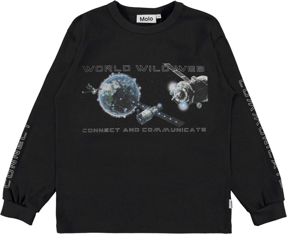 Rin - Black - Black organic top with world web