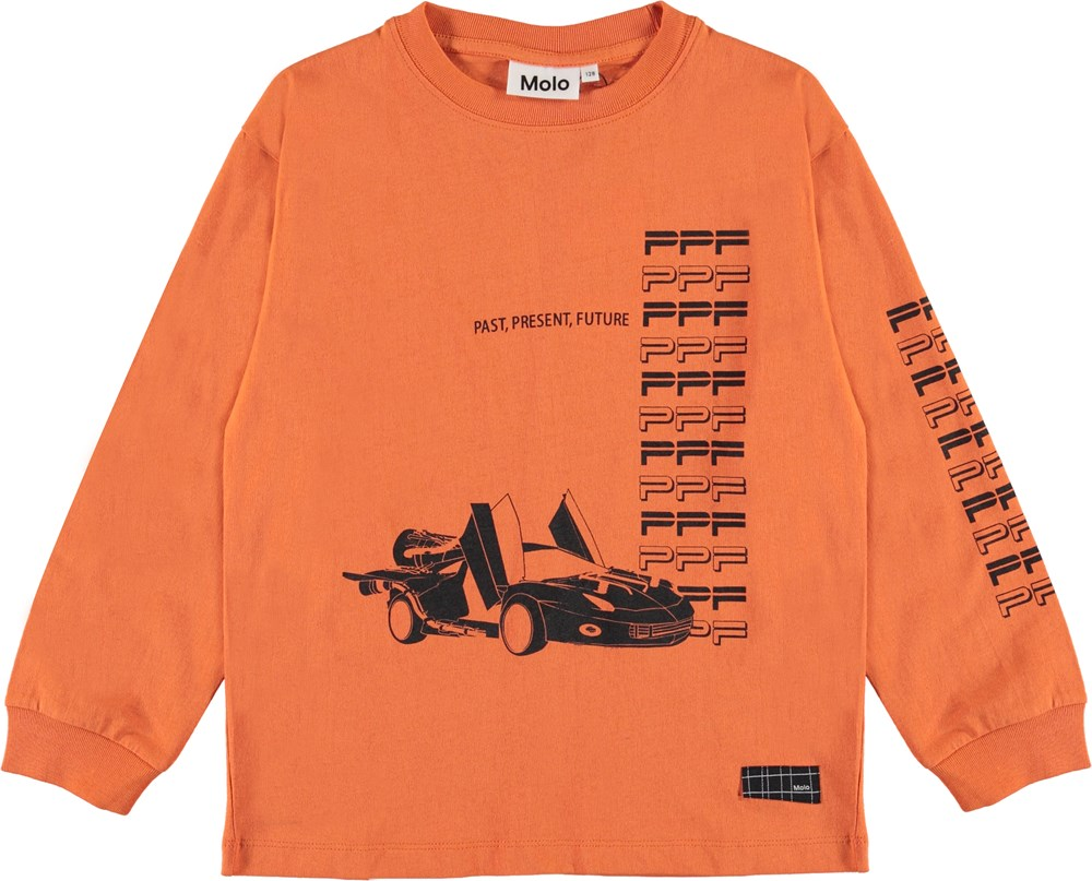 Rin - Faded Orange - Orange top with race cars and text