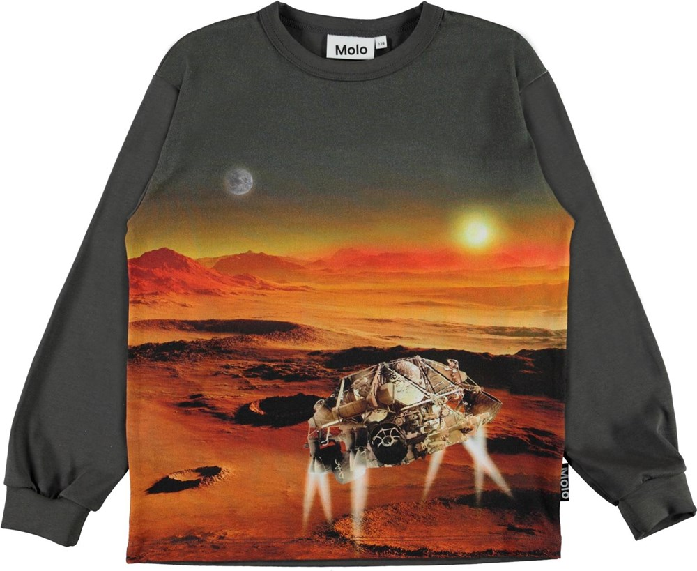 Rin - Mars Landscape - Green organic top with a print of Mars