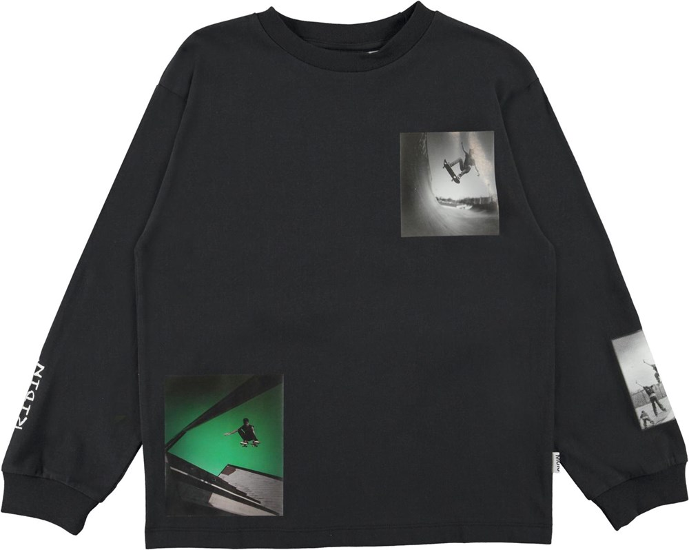 Rin - Skate Collage - Black organic top with skate print