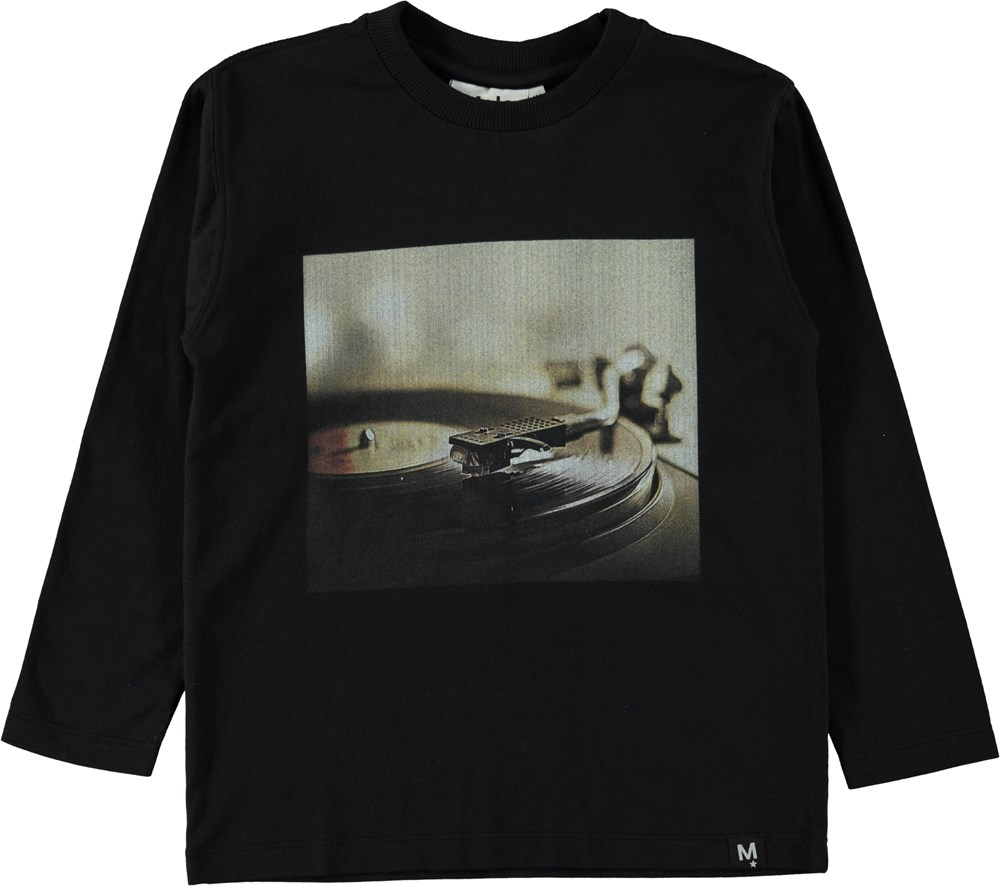 Rios - Black - Black top with a record player print