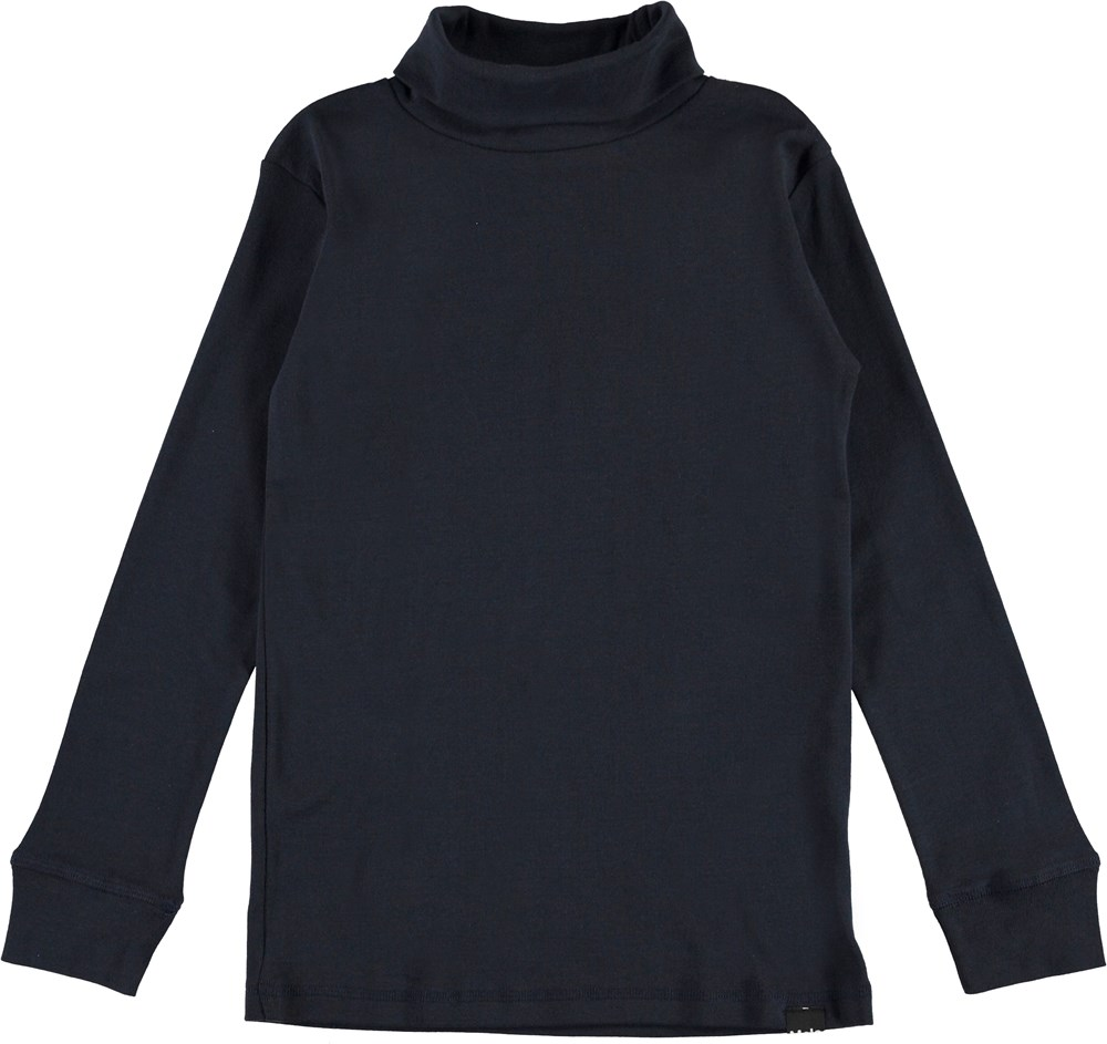 Rip - Dark Navy - Dark blue organic roll-neck