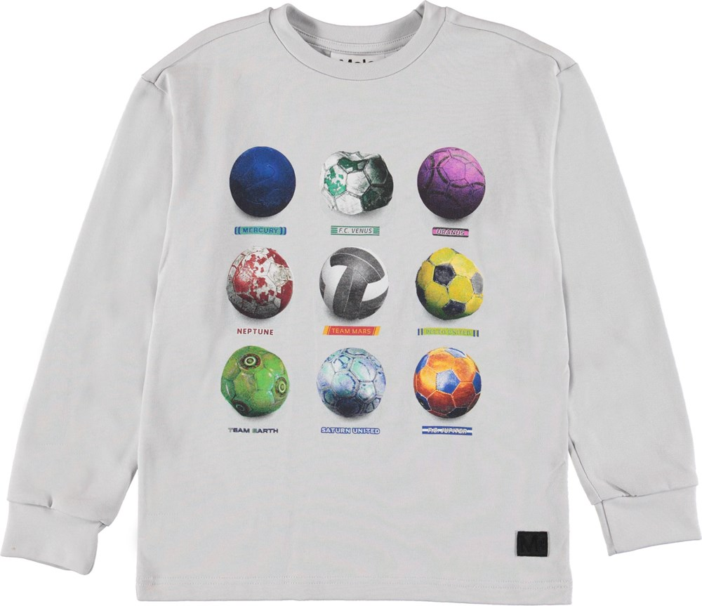 Risci - Antarctica - White sweatshirt with football planets.