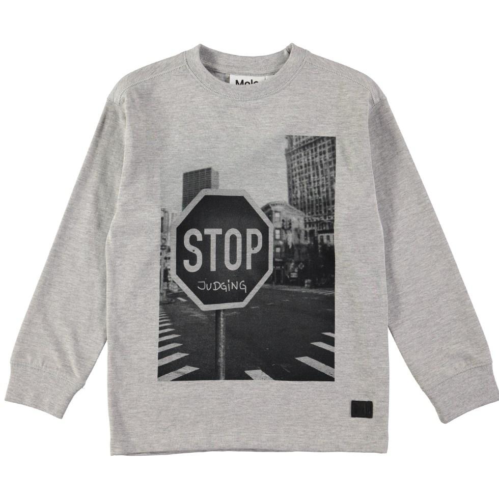 Risci - Stop Judging - Grey top with digital stop sign print