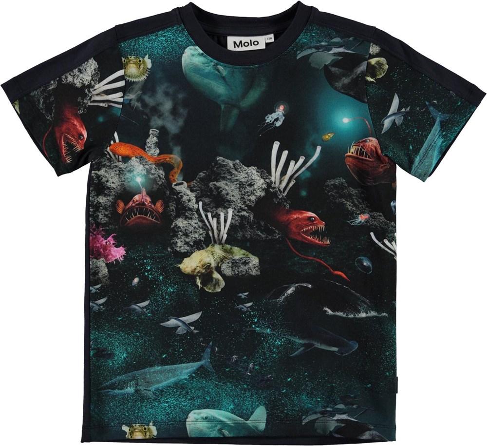 Rishi - Deep Sea - Blue organic t-shirt with fish and ocean print