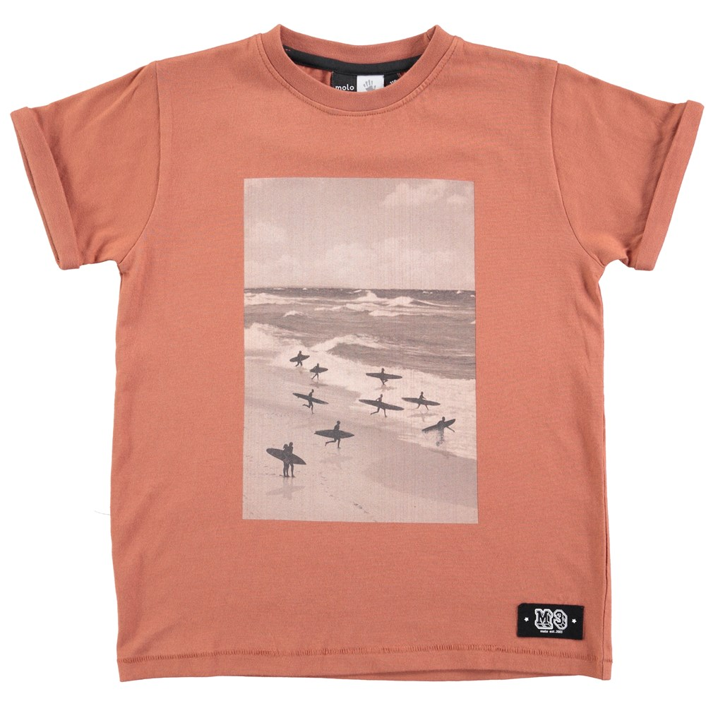 River - Copper Brown - copper coloured t-shirt with skate print