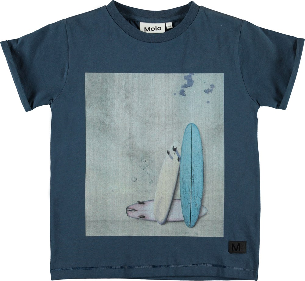 River - Wall - Blue t-shirt with surfboards.