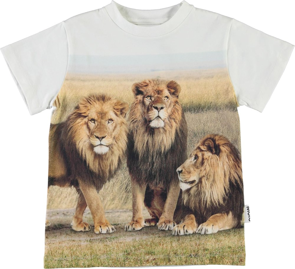 Road - 3 Lions - White organic t-shirt with lions