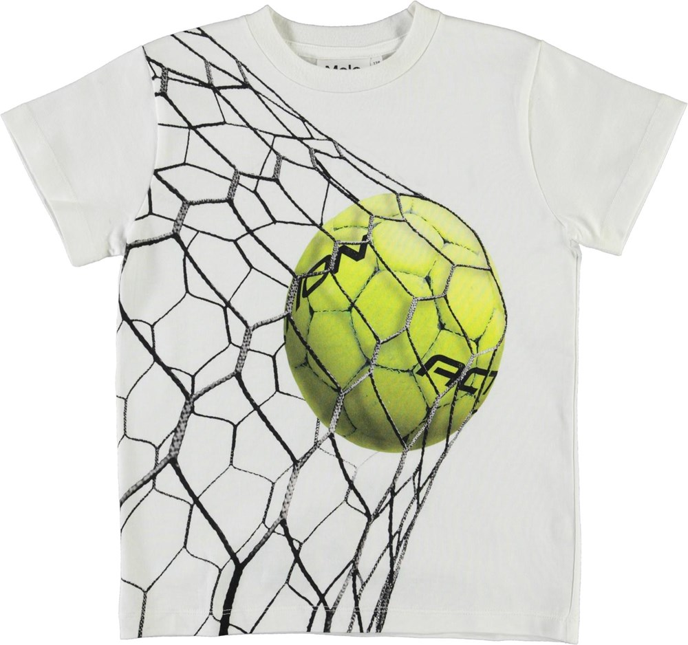 Road - Action - White organic t-shirt with a print of footballs