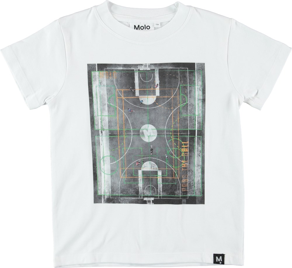 Road - Basket Court - White t-shirt with basketball court.