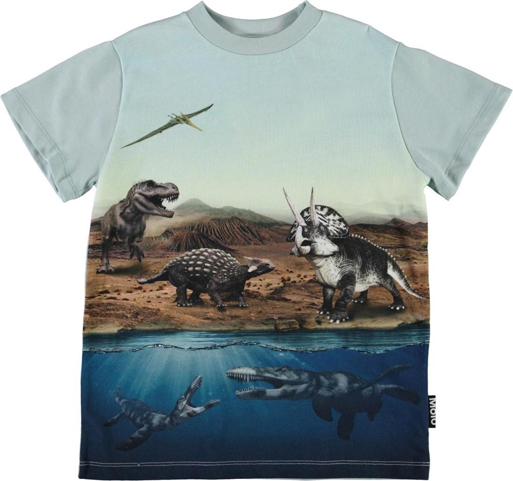 Road - Dino World - Light blue t-shirt with dinosaur