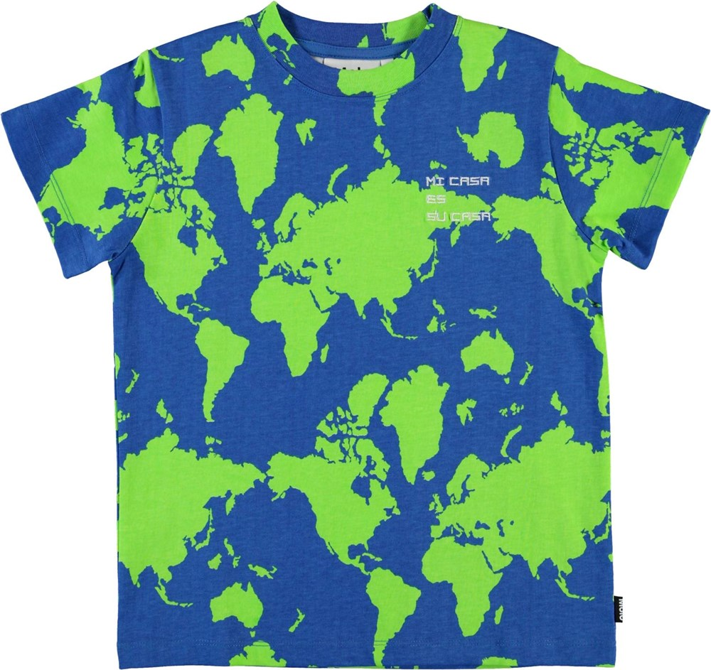 Road - Earth - Organic t-shirt with map of the world