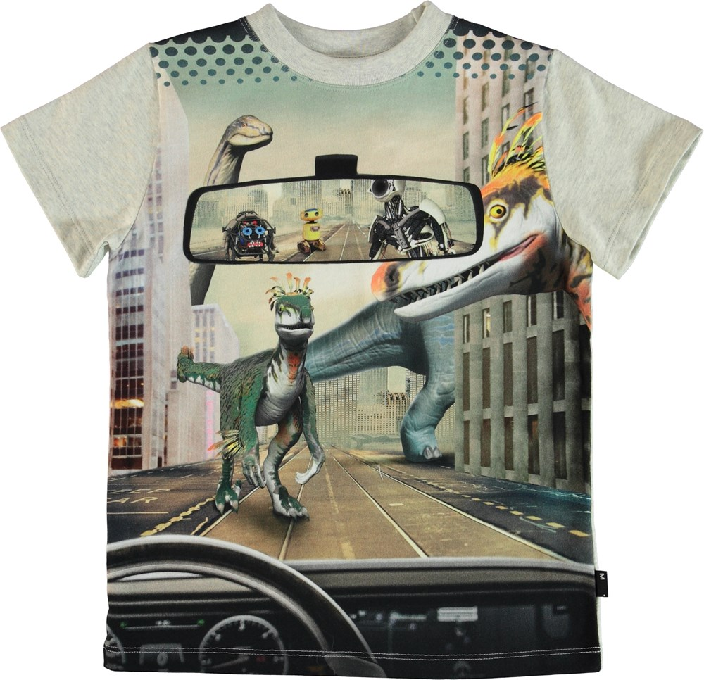 Road - Hindsight Mirror - T-shirt with dinosaur and robot print.