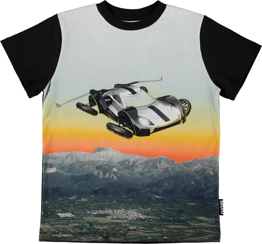 Road - Hover Car - Organic t-shirt with a flying car