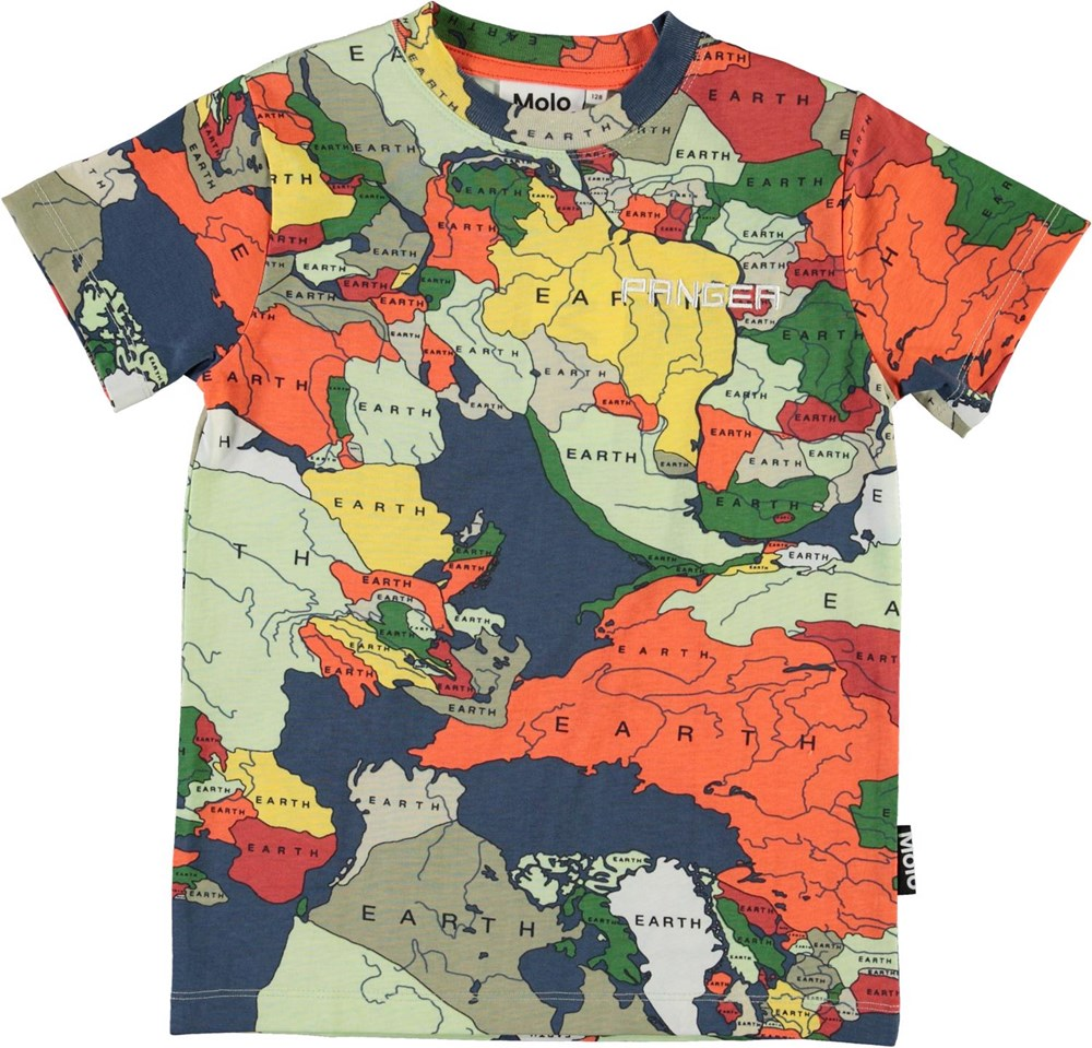 Road - Pangea Map - Organic t-shirt with map of the world