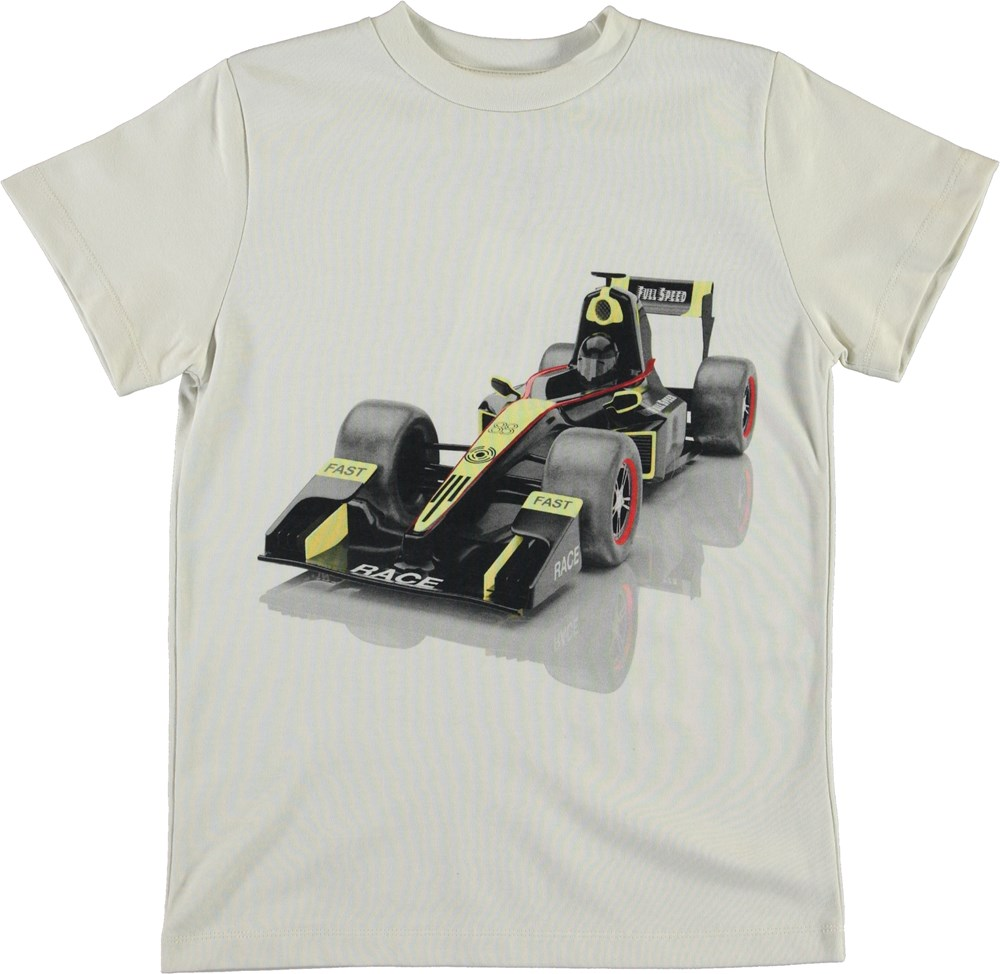 Road - Race Car - White organic t-shirt with race cars