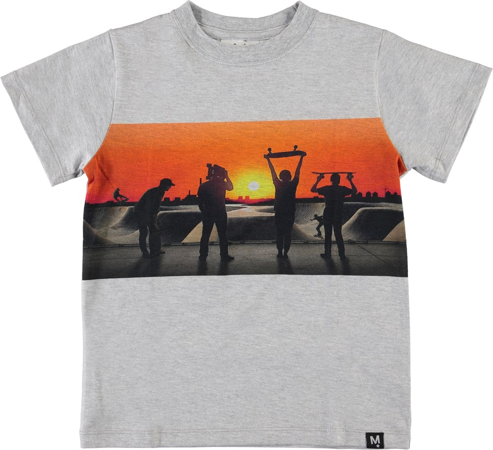 Road - Red Sky Skate - Grey t-shirt with skateboards