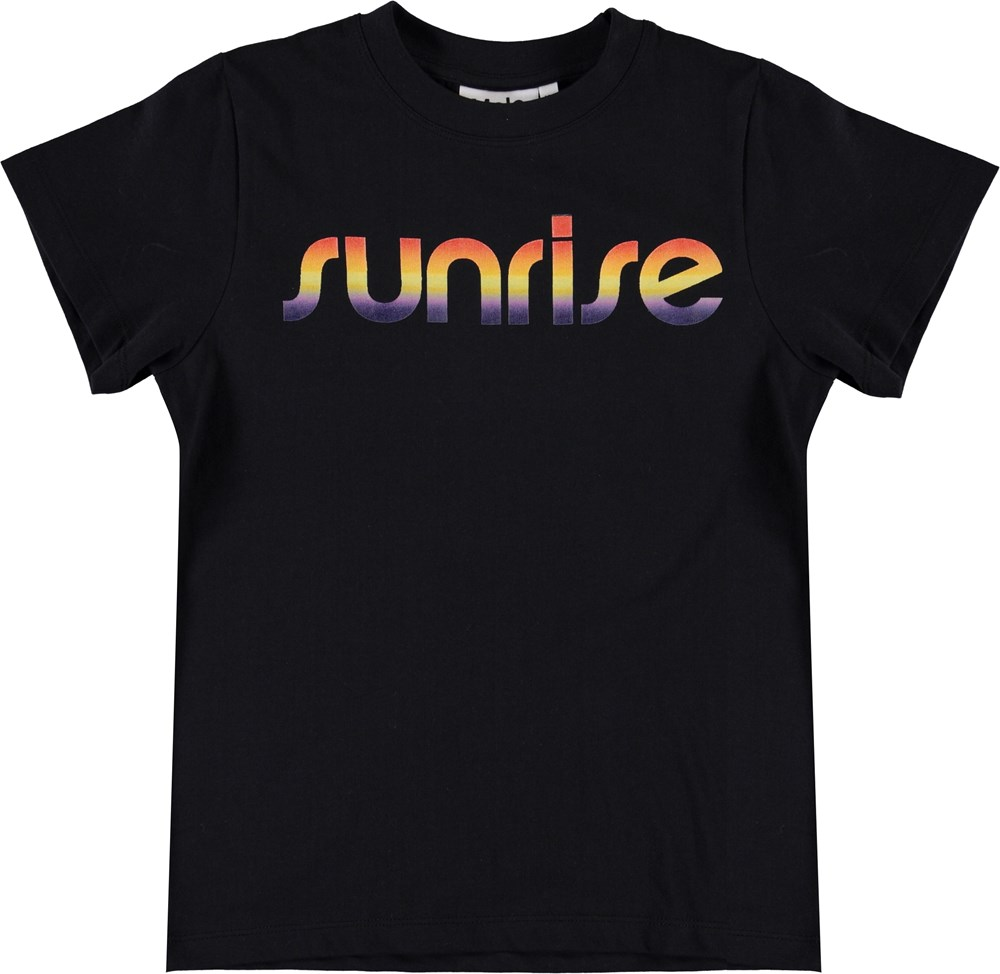 Road - Black - Black t-shirt with sunrise print