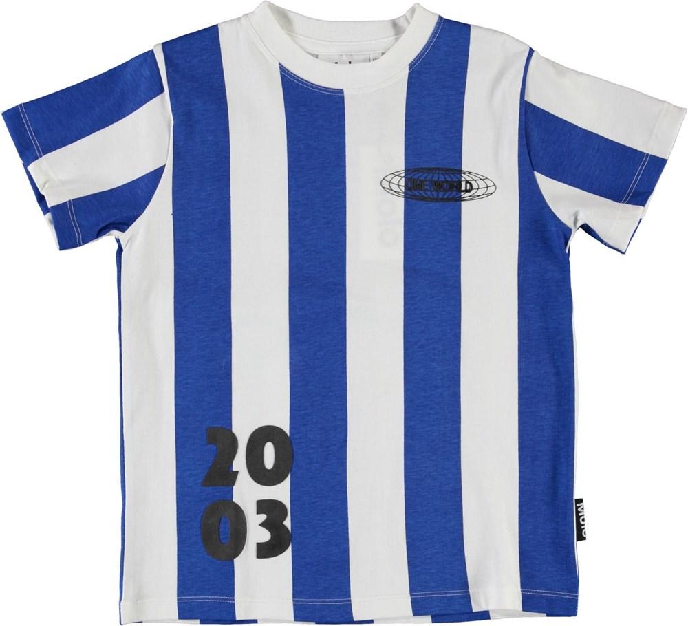 Road - Bluewhite Stripe - Blue and white striped football t-shirt