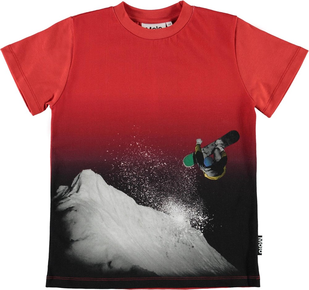 Road - Snowboarding - Red organic t-shirt with snowboarder