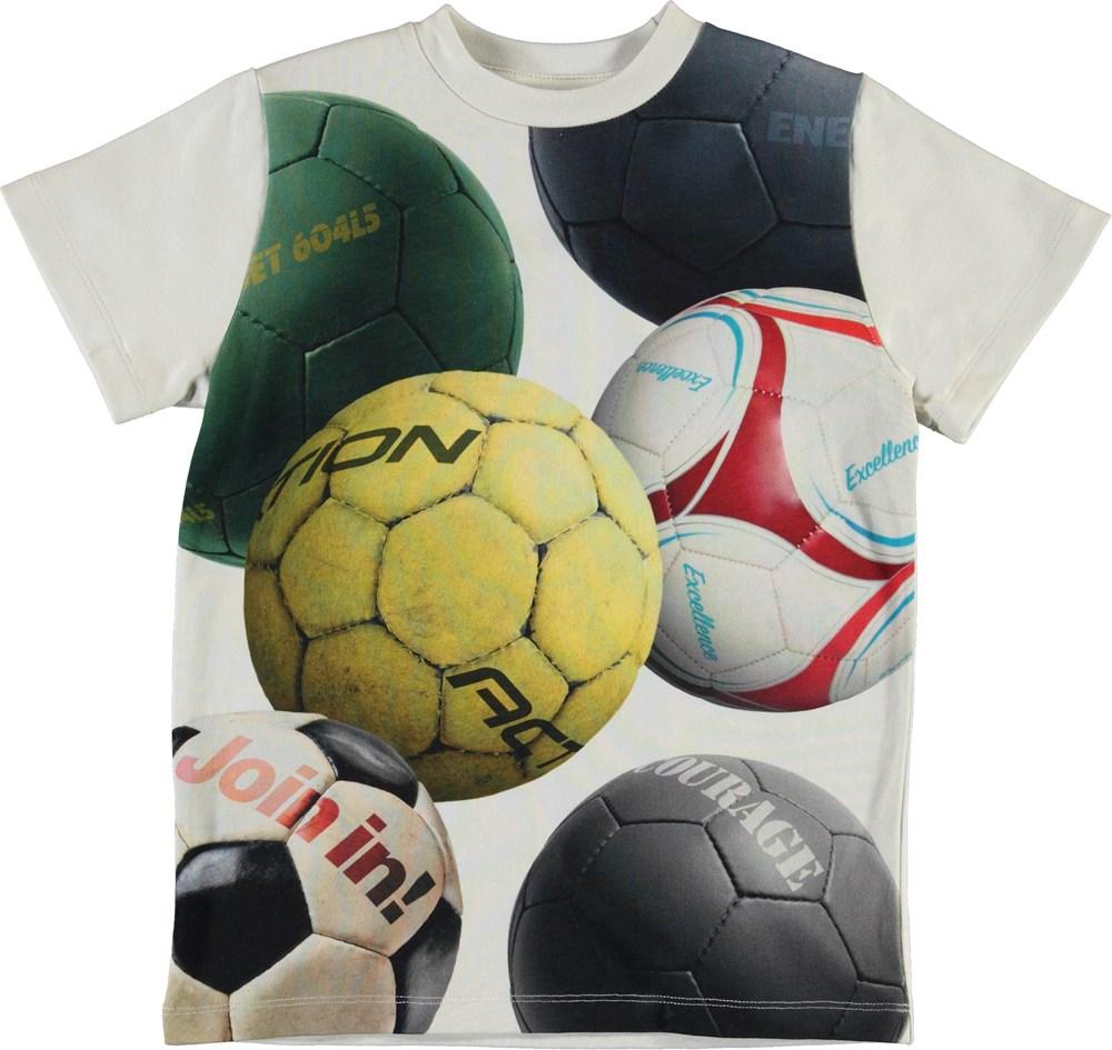 Road - Soccer Balls - White organic t-shirt with footballs