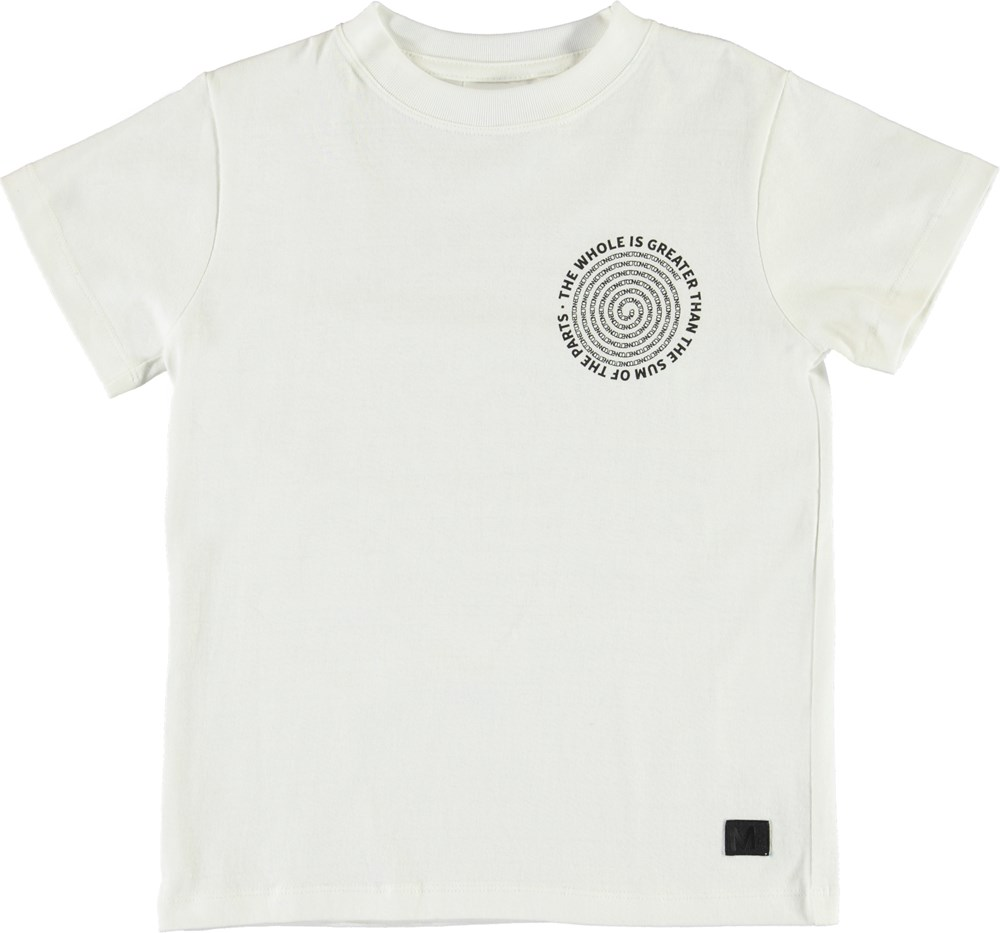 Road - Spiral Text - White t-shirt with spiral text