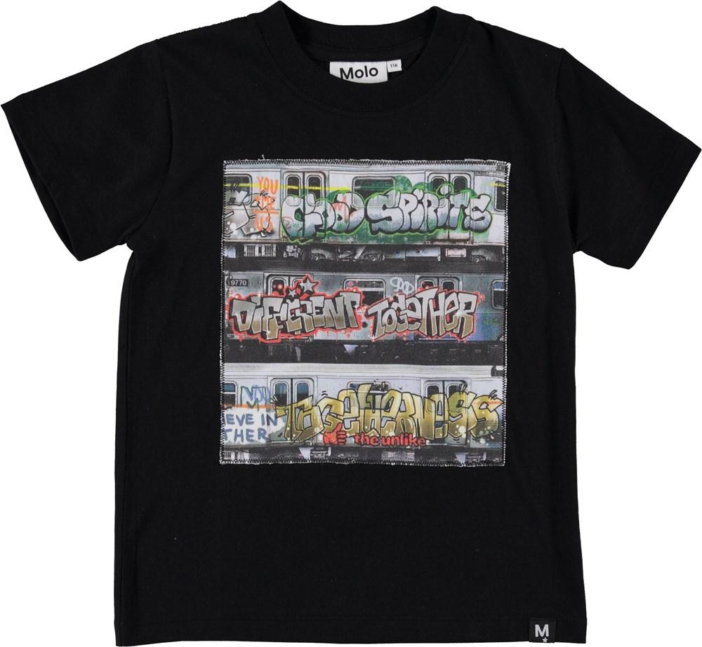 Road - Subway Graffiti - Black t-shirt with grafitti print.