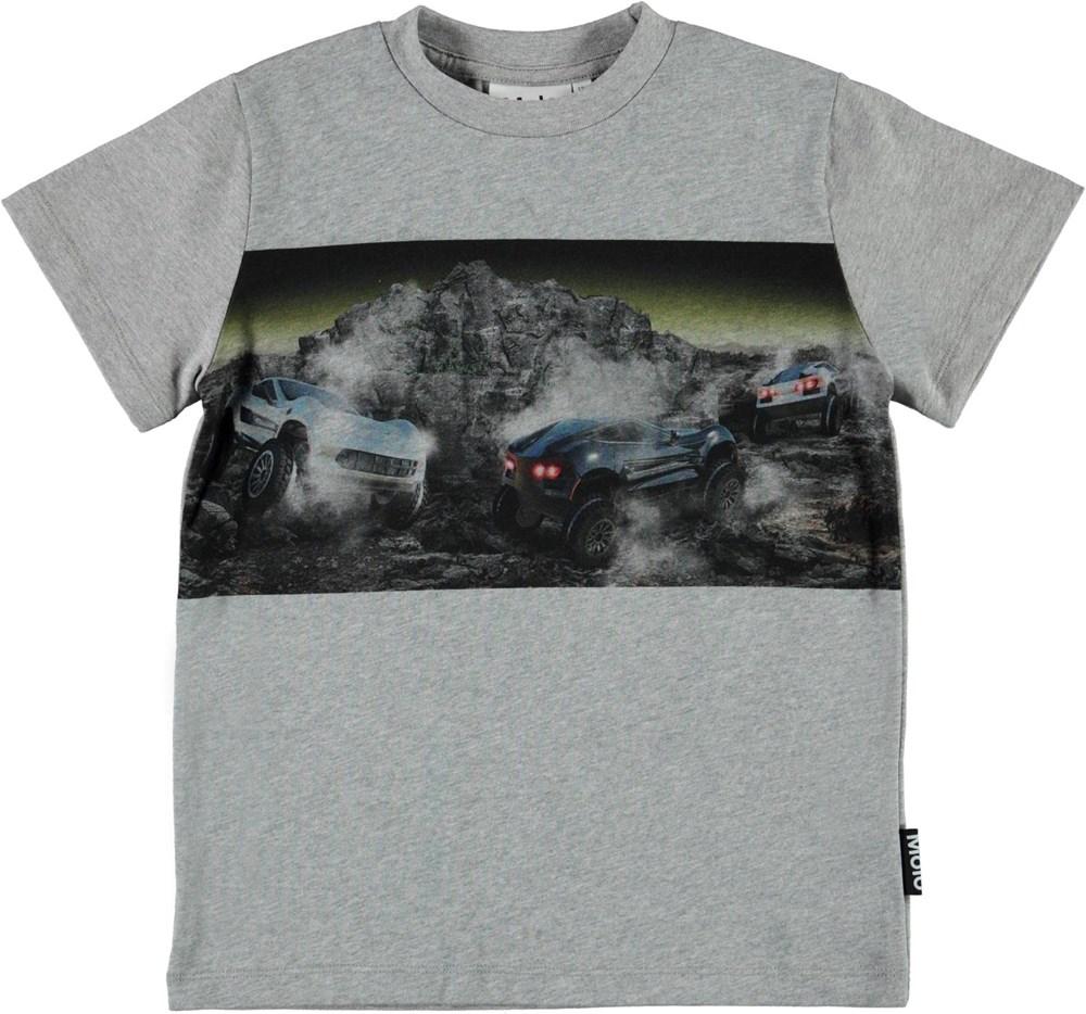 Road - Terrain Drive - Grey organic t-shirt with cars