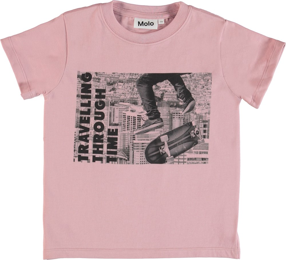 Road - Through Time - Rose coloured t-shirt with print
