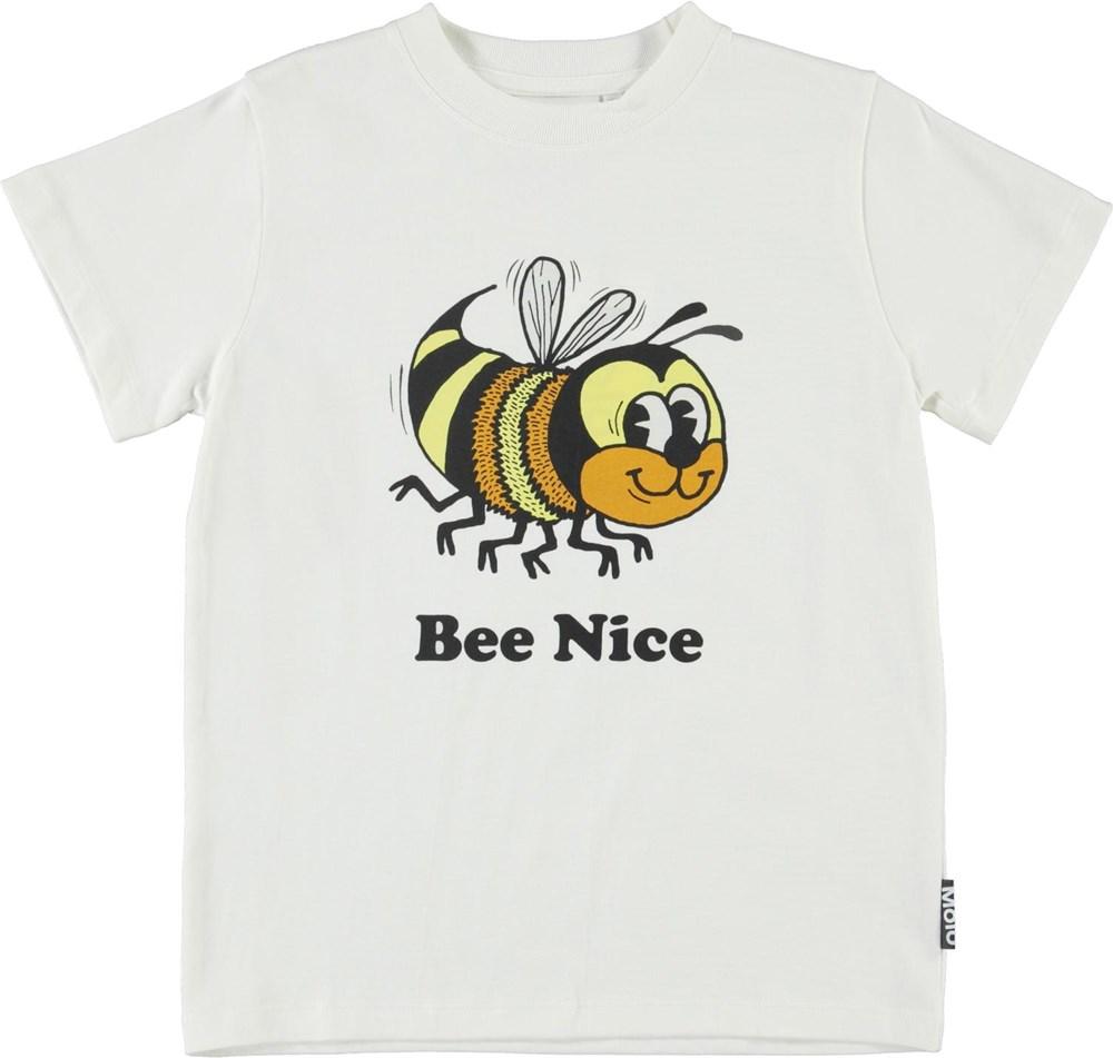 Road - White Star - White organic t-shirt 'Bee nice' bee print