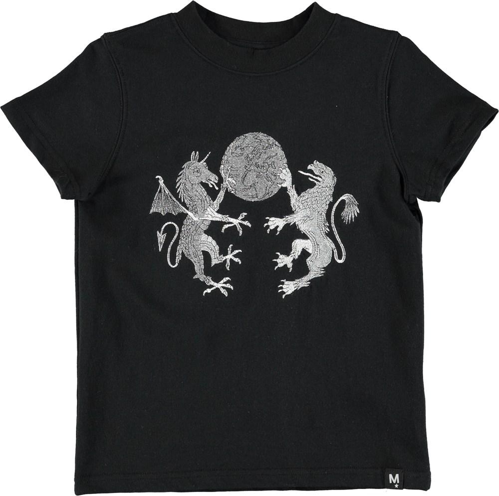 Rodrigo - Black - Black t-shirt with embroidered animals