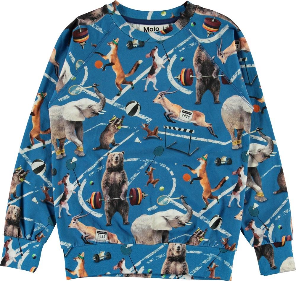 Romeo - Athletic Animals - Light blue organic top with animals