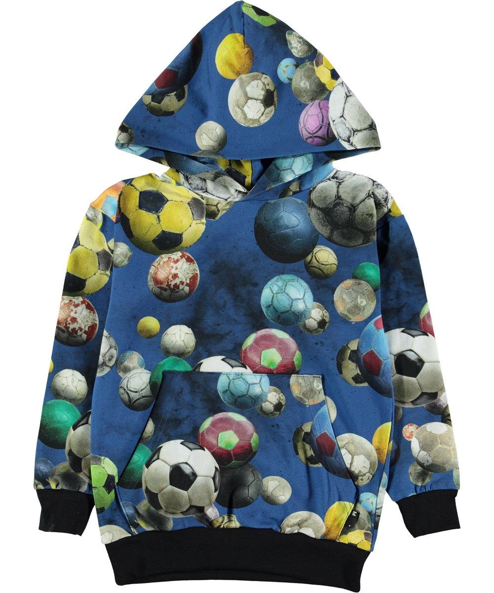 Romo - Cosmic Footballs - Blue hoodie with footballs.