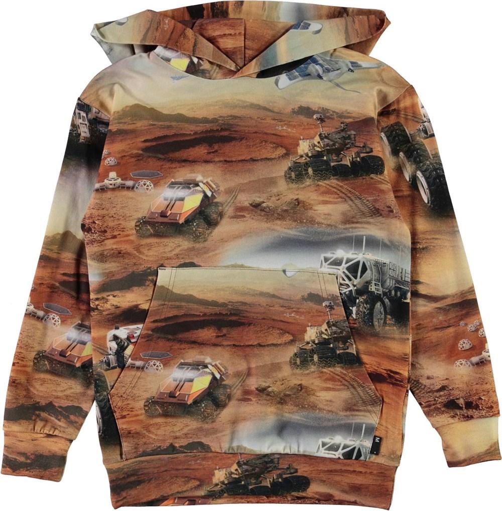 Romo - Mars - Brown hoodie with Mars print