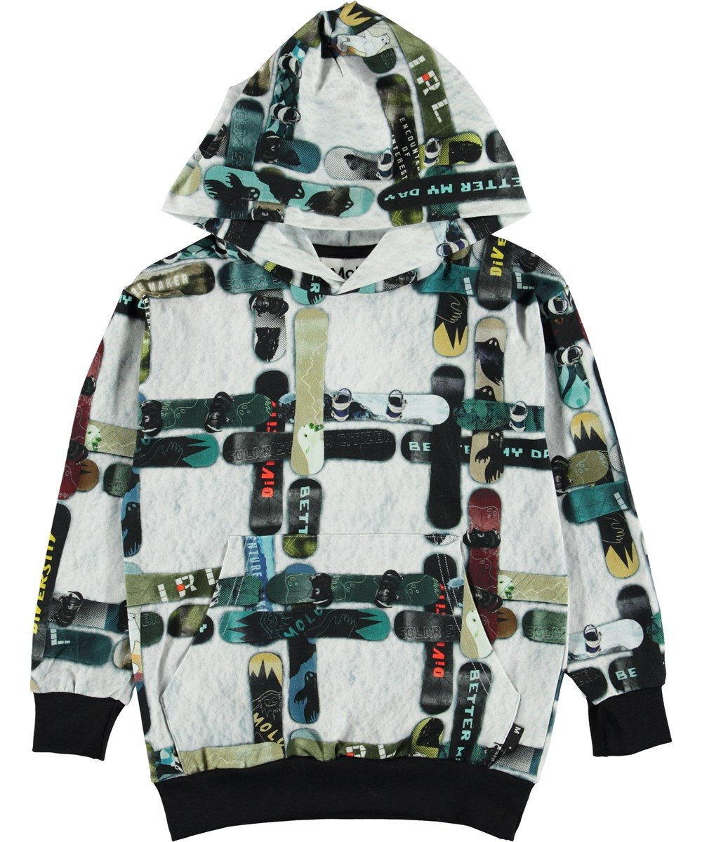 Romo - Snowboard Check - White hoodie with snowboards.