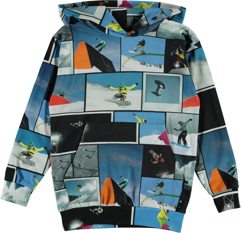 Romo - Snowboarders - Blue hoodie with snowboarder print