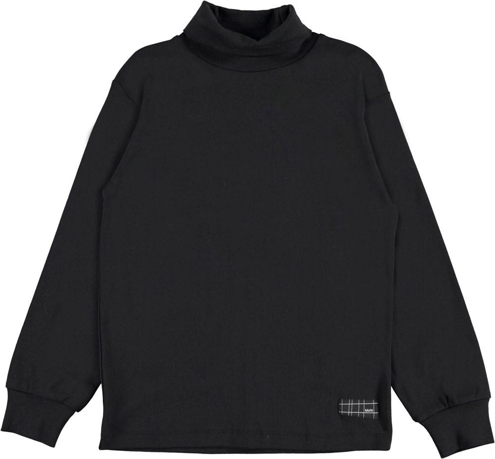 Ronez - Black - Black, organic roll-neck top