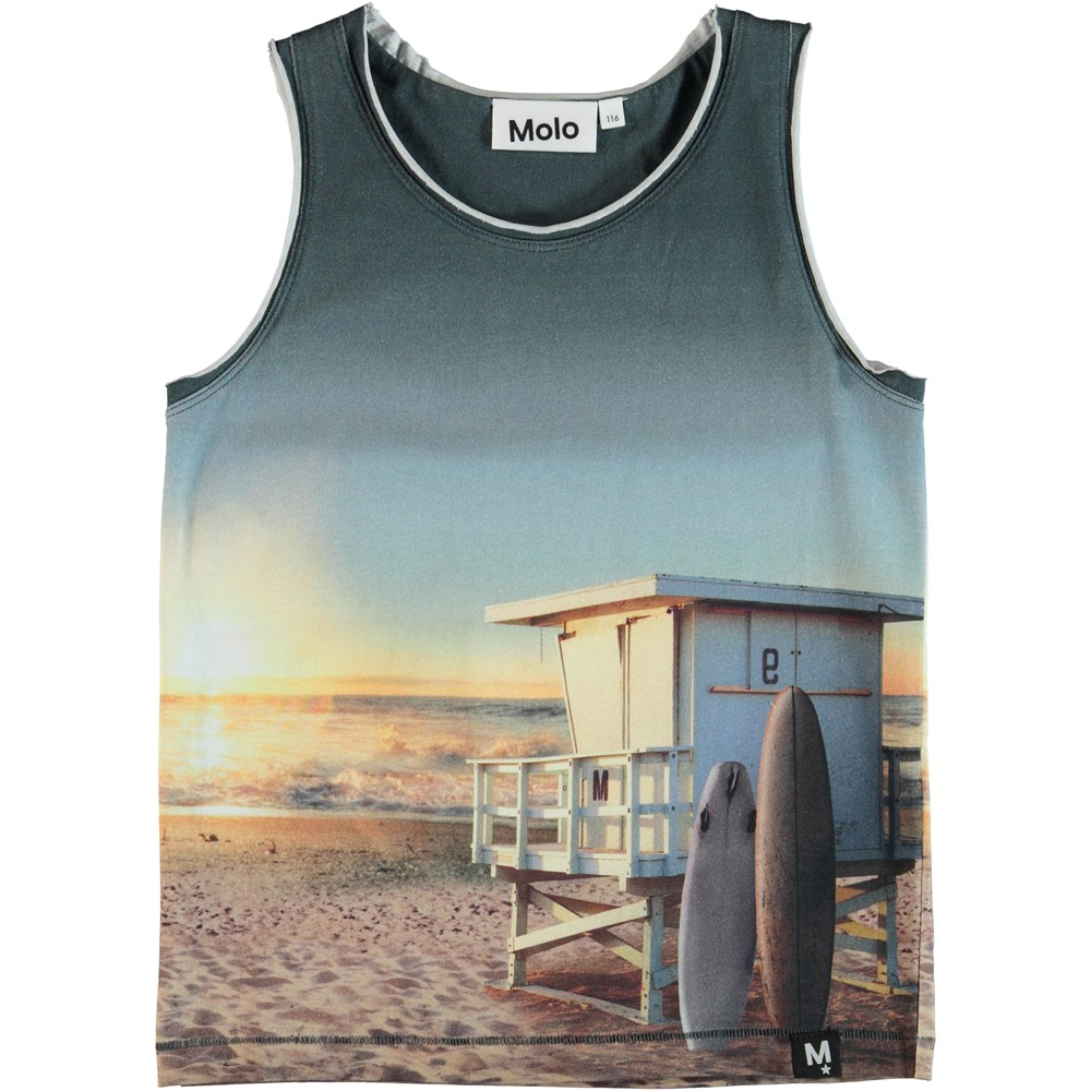 Ronoy - On The Beach - Vest with sunrise print.