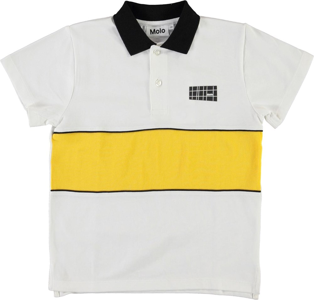Row - White - Organic polo t-shirt with yellow stripe