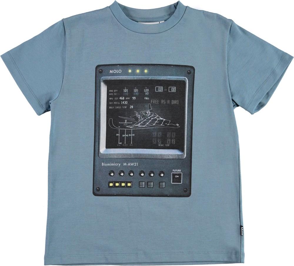 Roxo - Aero - Blue organic t-shirt with spaceship print