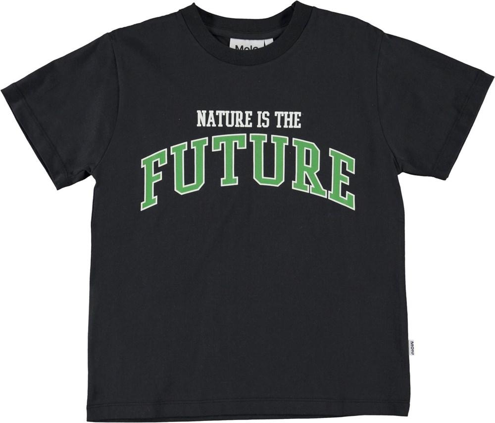 Roxo - Black - Black organic t-shirt nature is future