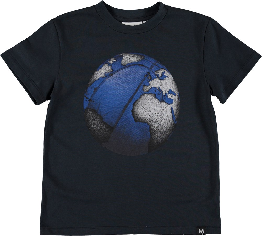 Roxo - Carbon - Blue t-shirt with football planet.