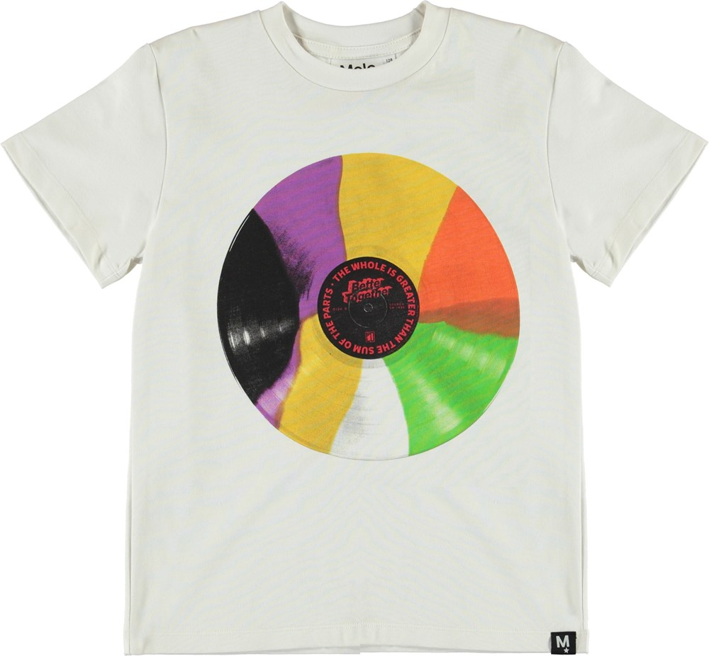 Roxo - Coloured Record - White t-shirt with colourful LP record