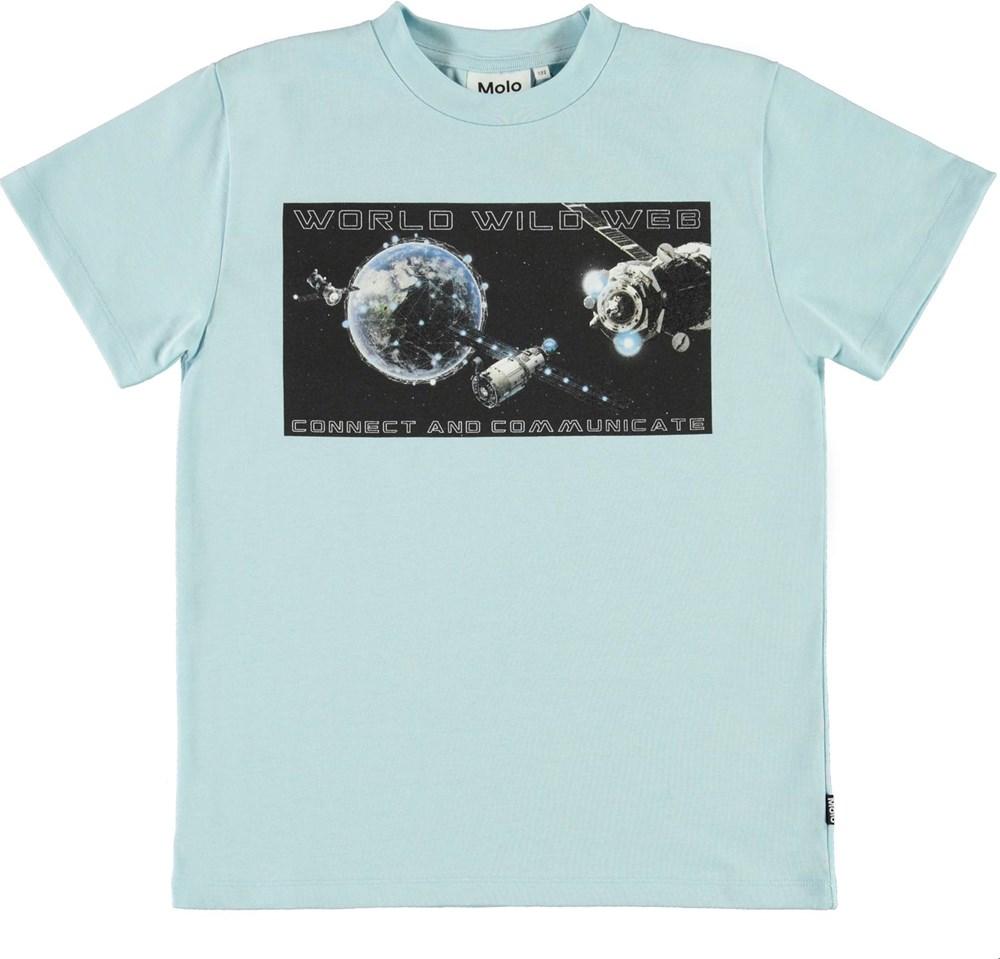 Roxo - Cool Blue - Blue organic t-shirt with satellite print