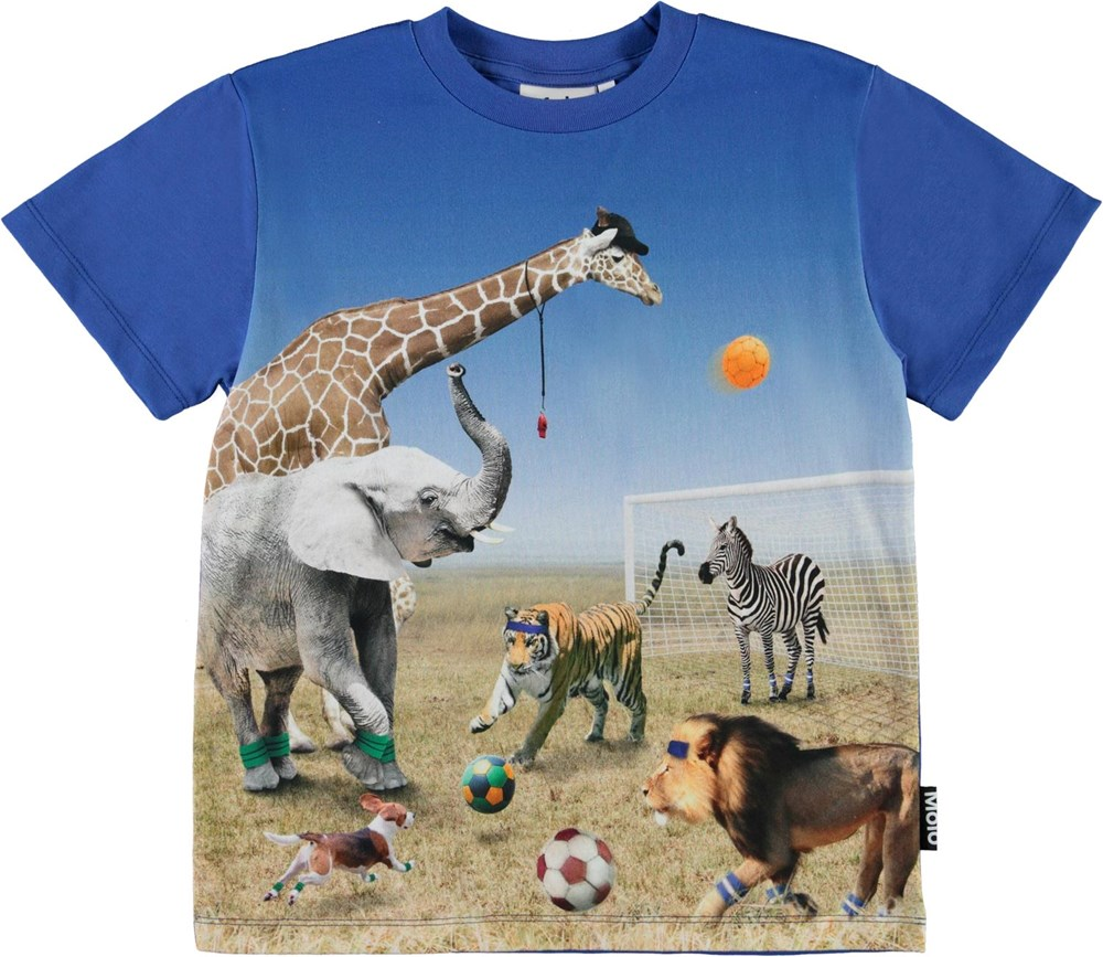 Roxo - Football Game - Blue organic t-shirt with football animals