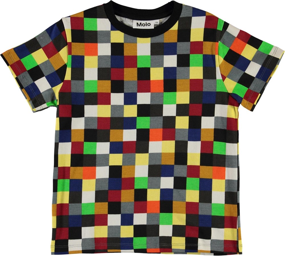 Roxo - Pixels - T-shirt with coloured squares